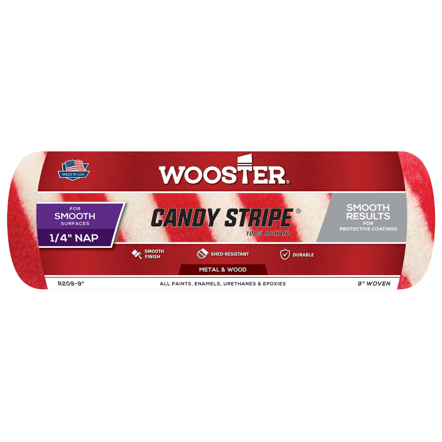 Wooster  Candy Stripe  Mohair Blend  9 in. W x 1/4 in.  Regular  Paint Roller Cover  1 pk