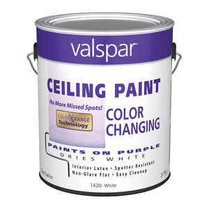Valspar  Flat  Purple to White  White Base  Latex  Color Changing Ceiling Paint  Indoor  1 gal.