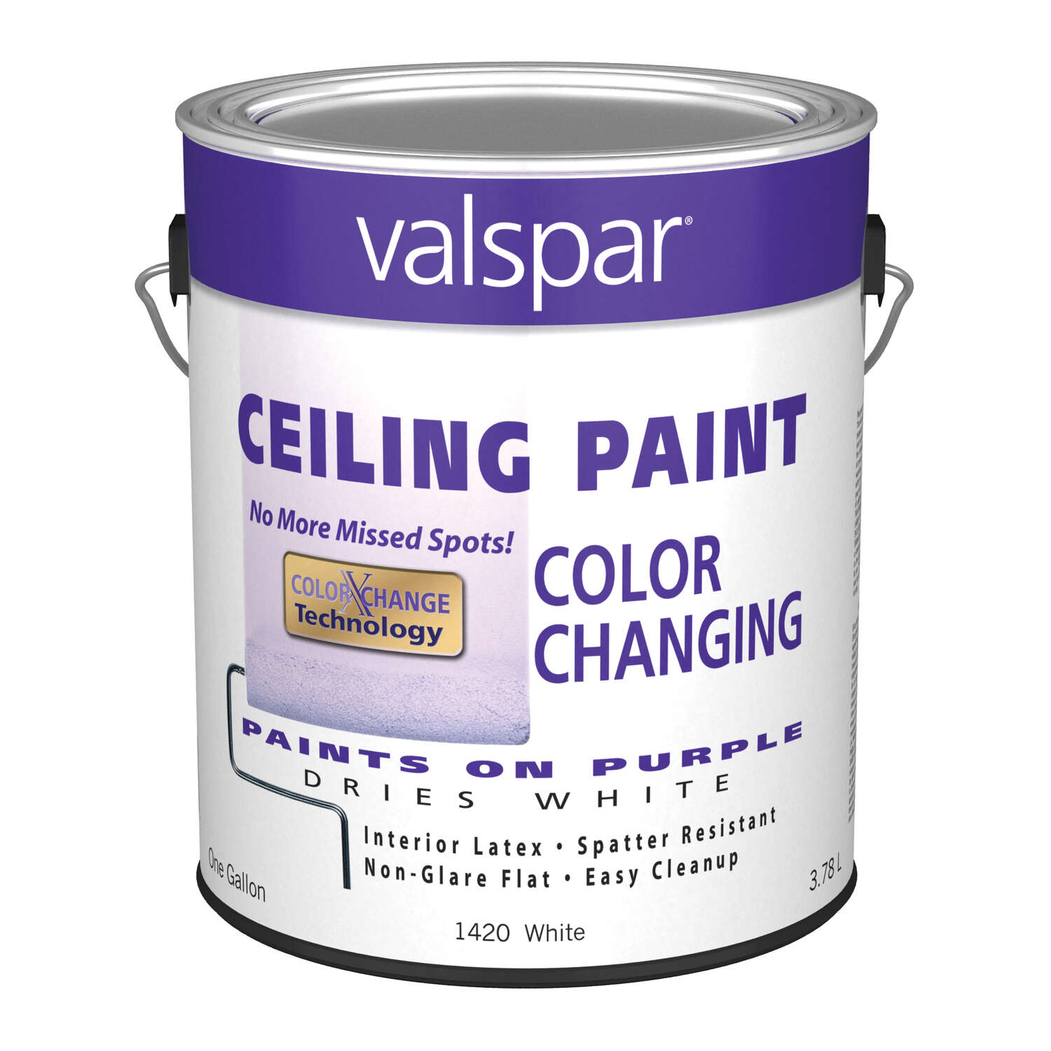 Valspar  Flat  Purple to White  Vinyl Acetate Copolymer  Color Changing Ceiling Paint  Indoor  1 gal