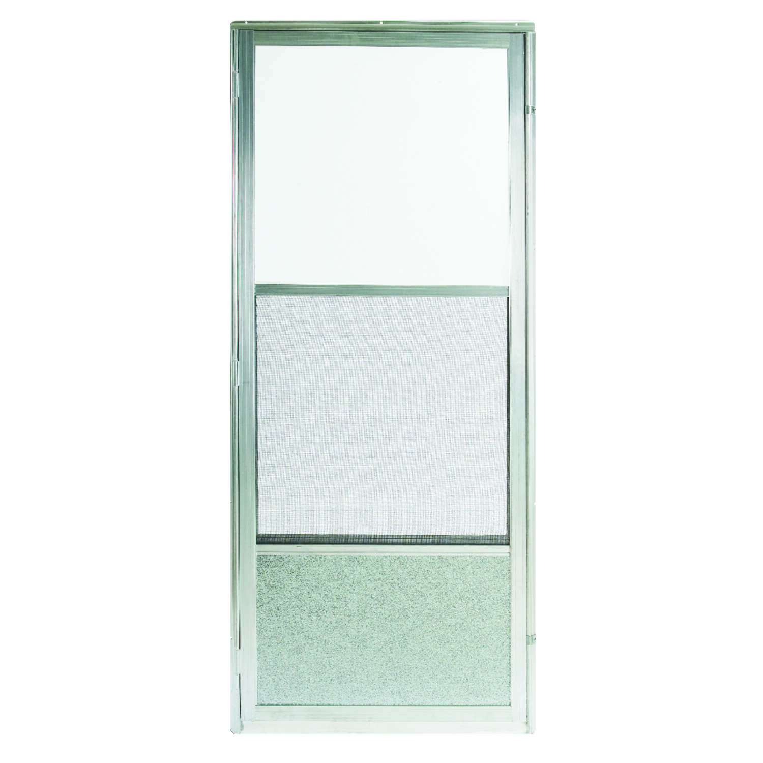 Croft  80 in. H x 36 in. W Aluminum  Mid-View  Reversible  Reversible Self-Storing Storm Door