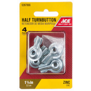 Ace Zinc Plated Silver Steel Screenstorm Turn Buttons 4 Pk Ace