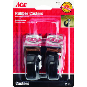Ace  2 in. Dia. Swivel Rubber  Caster Wheel with Plate  80 lb. 2 pk