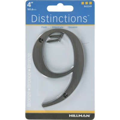 Hillman  Distinctions  4 in. Bronze  Metal  Screw-On  Number  9  1 pc.