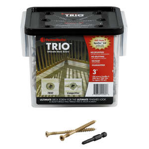 FastenMaster  Trio  No. 10   x 3 in. L Torx TTAP  Flat  Epoxy  Carbon Steel  Deck Screws  350 per bo