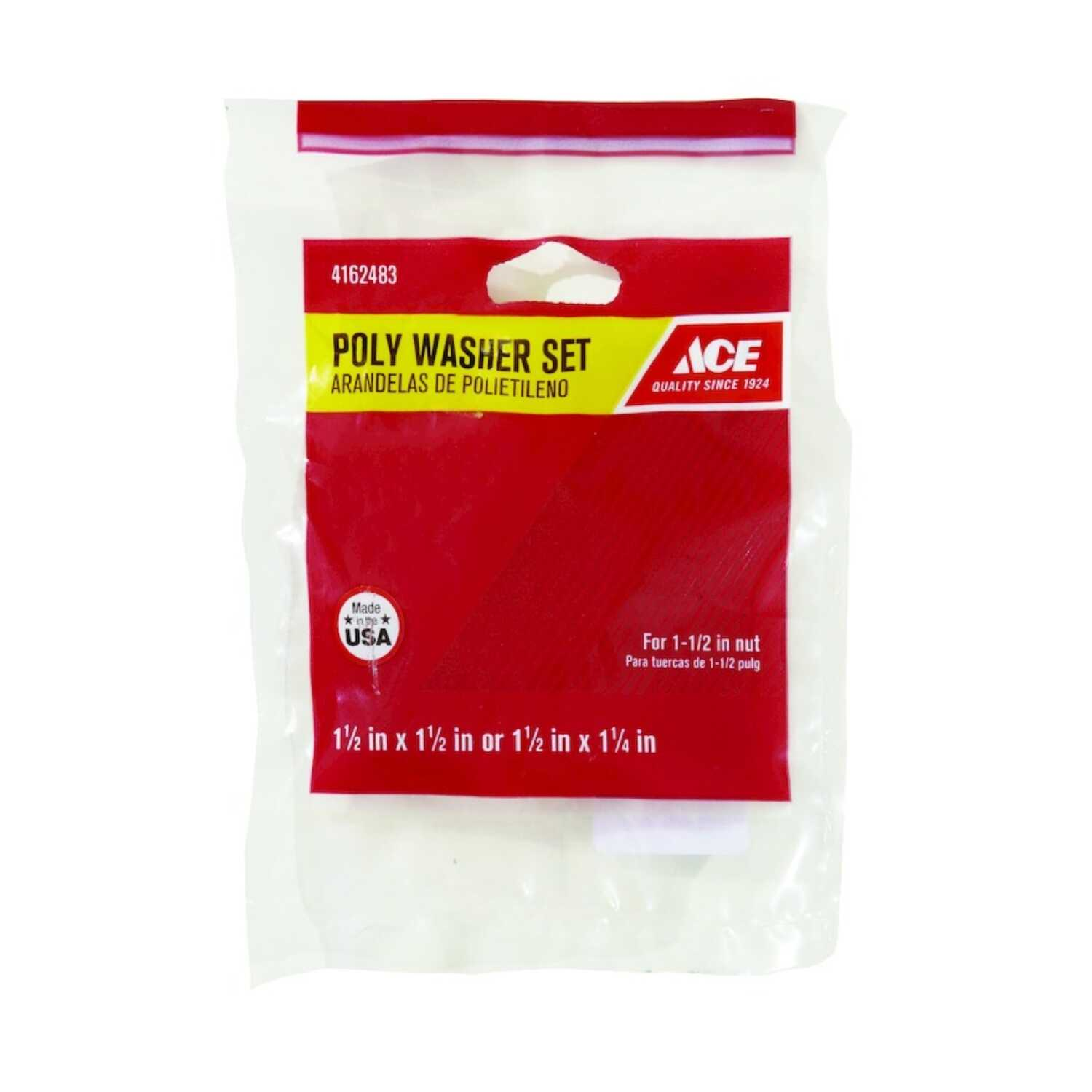 Ace  1-1/2 in. Dia. Poly  Poly Washer  1 pk