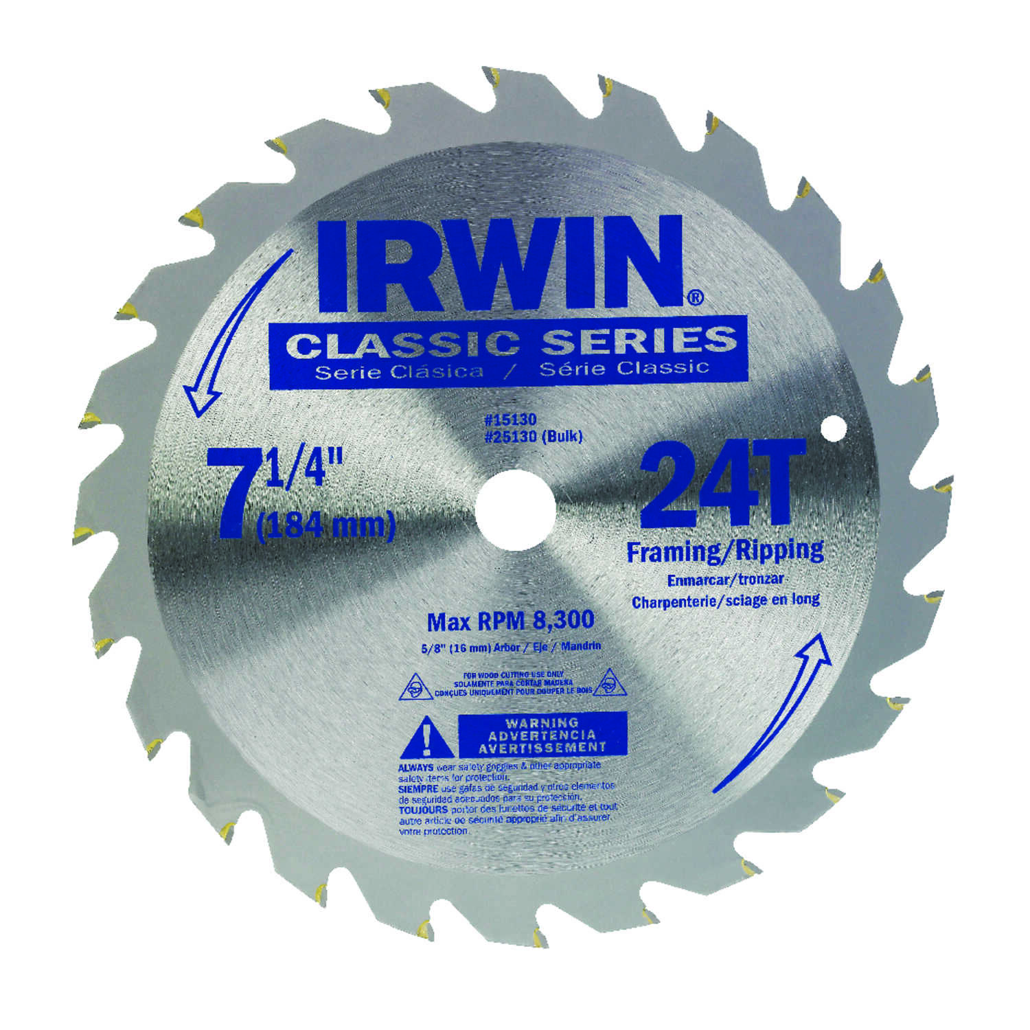 Irwin  7-1/4 in. Dia. x 5/8 in.  Classic  Carbide  Circular Saw Blade  24 teeth 1 pk