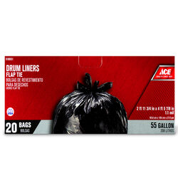 Ace  55 gal. Drum Liner  Flap Tie  20 pk