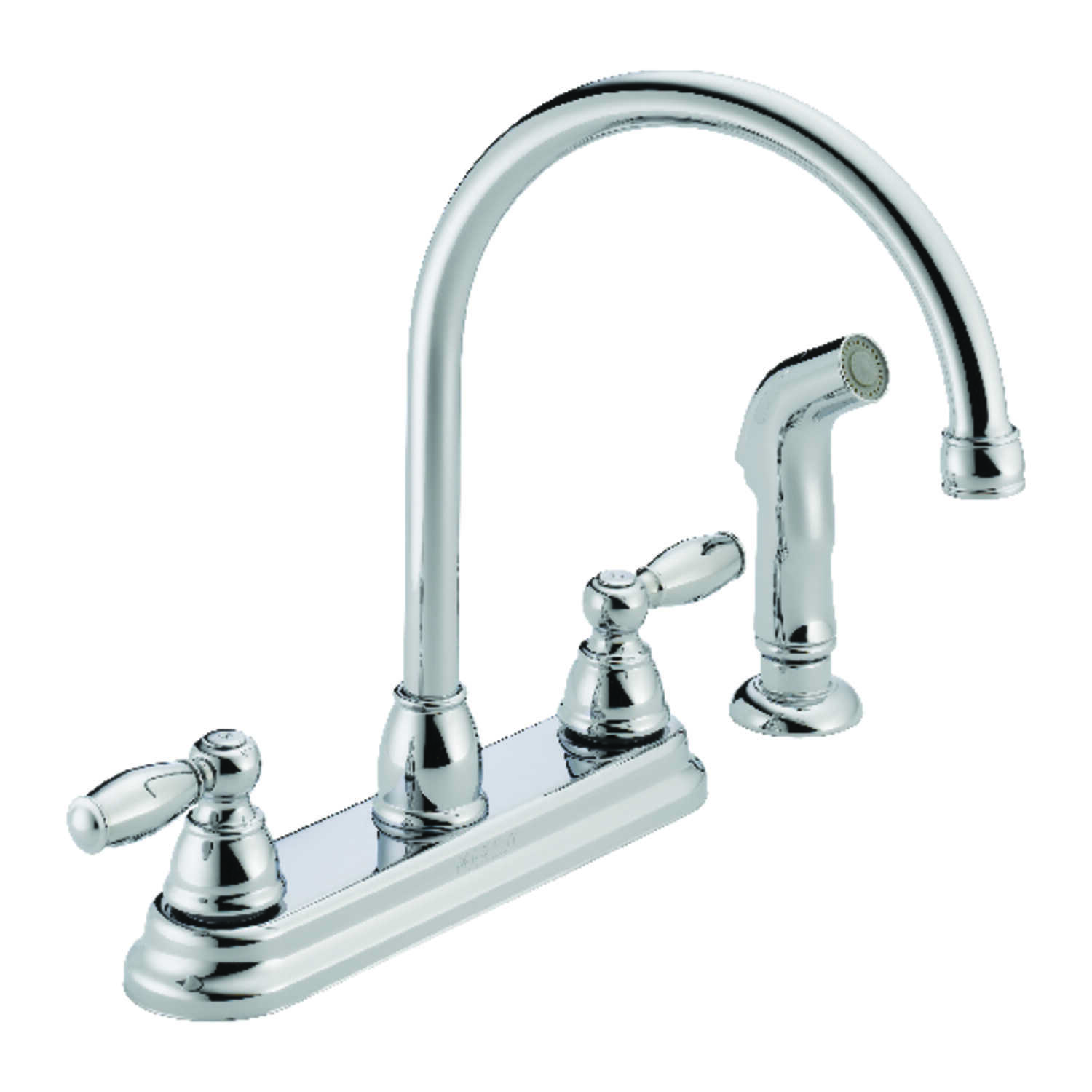 Peerless  Claymore  Apex  Two Handle  Chrome  Kitchen Faucet  Side Sprayer Included