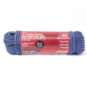 Ace  3/8 in. Dia. x 100 ft. L Blue  Diamond Braided  Poly  Rope