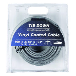 Tie Down Engineering  Vinyl Coated  Galvanized Steel  3/16 in. Dia. x 100 ft. L Aircraft Cable