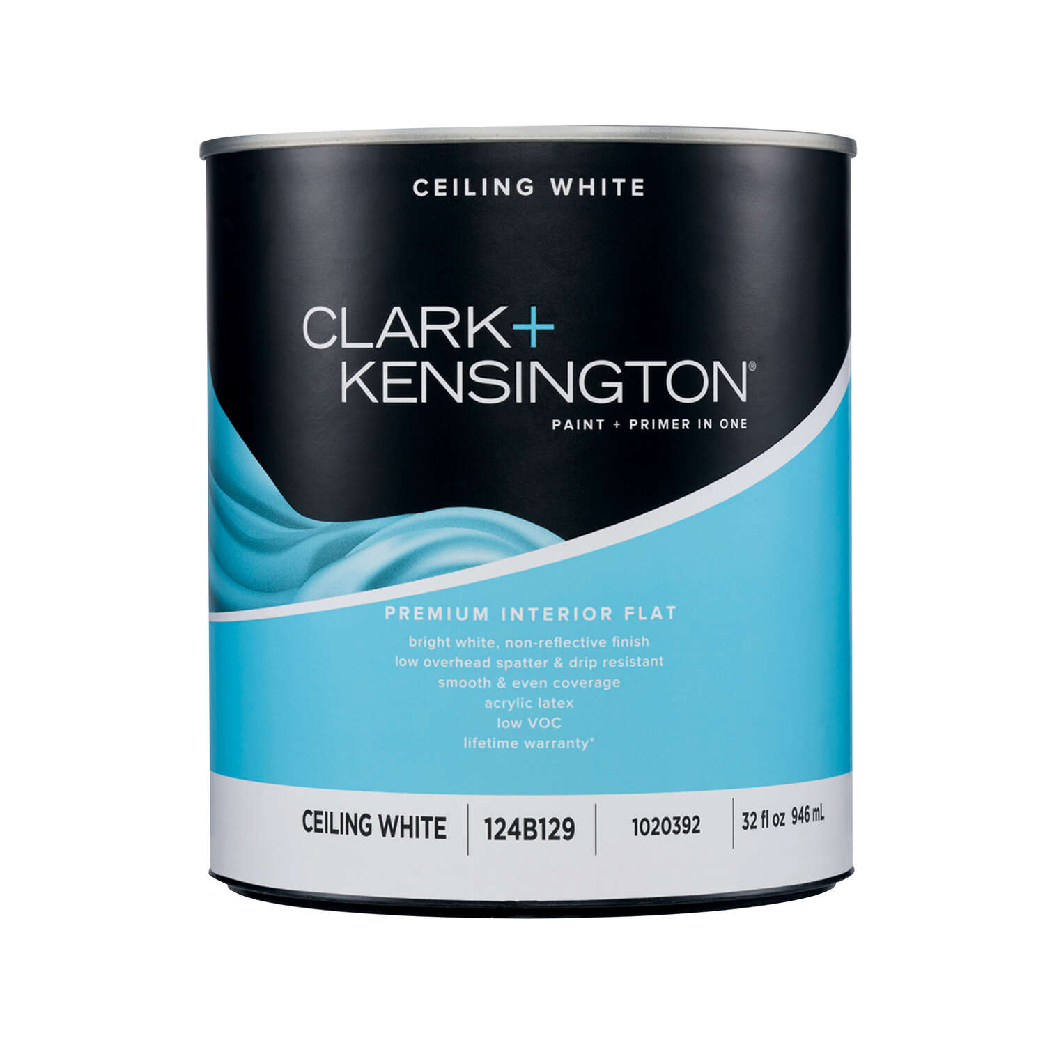 Clark+Kensington  Flat (Non-Glare)  White  Acrylic Latex  Premium Paint  Interior  1 qt.