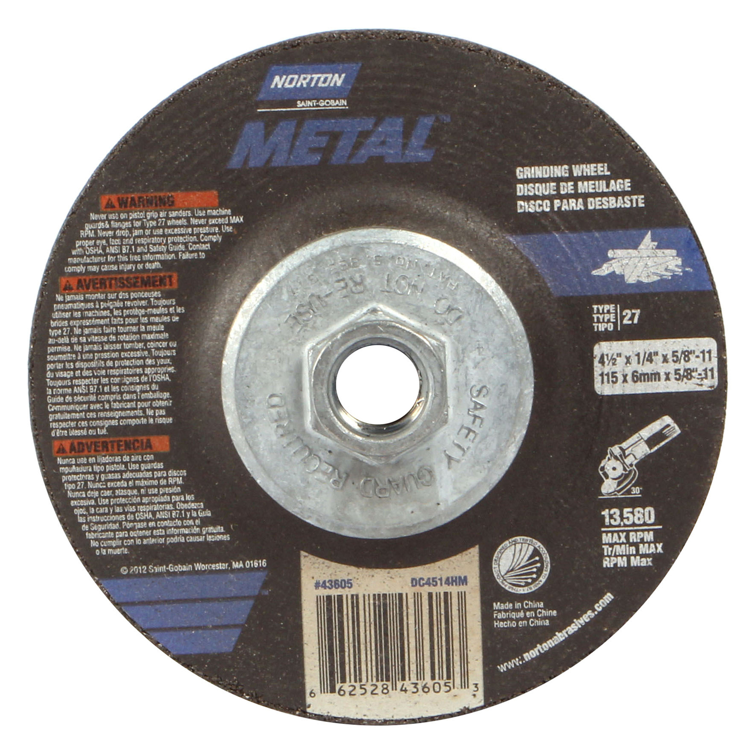 Norton  4-1/2 in. Dia. x 1/4 in. thick  x 5/8 in.   Aluminum Oxide  Grinding Wheel  13580 rpm 1 pc.