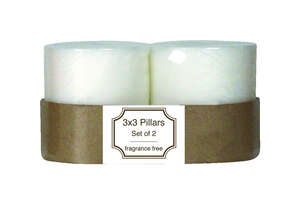 Langley Empire  No Scent Scent White  Pillar  Candle  3 in. H x 3 in. Dia.