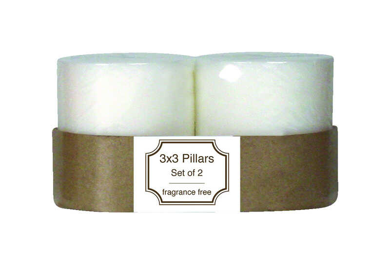 Langley Empire  No Scent White  Pillar  Candle  3 in. H x 3 in. Dia.