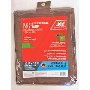 Ace  12 ft. W x 16 ft. L Medium Duty  Polyethylene  Brown/Green  Tarp
