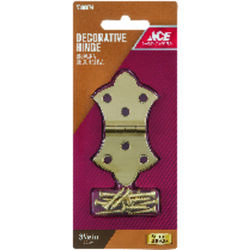 Ace  1-11/16 in. W x 3-1/16 in. L Polished Brass  Brass  Decorative Hinge  2 pk