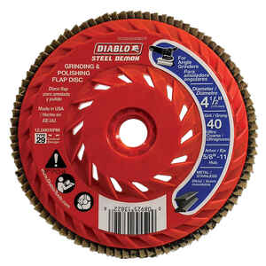 Diablo  Steel Demon  4-1/2 in. Dia. x 5/8 in.   Ceramic  Thread Arbor Flap Disc  40 Grit 12000 rpm 1