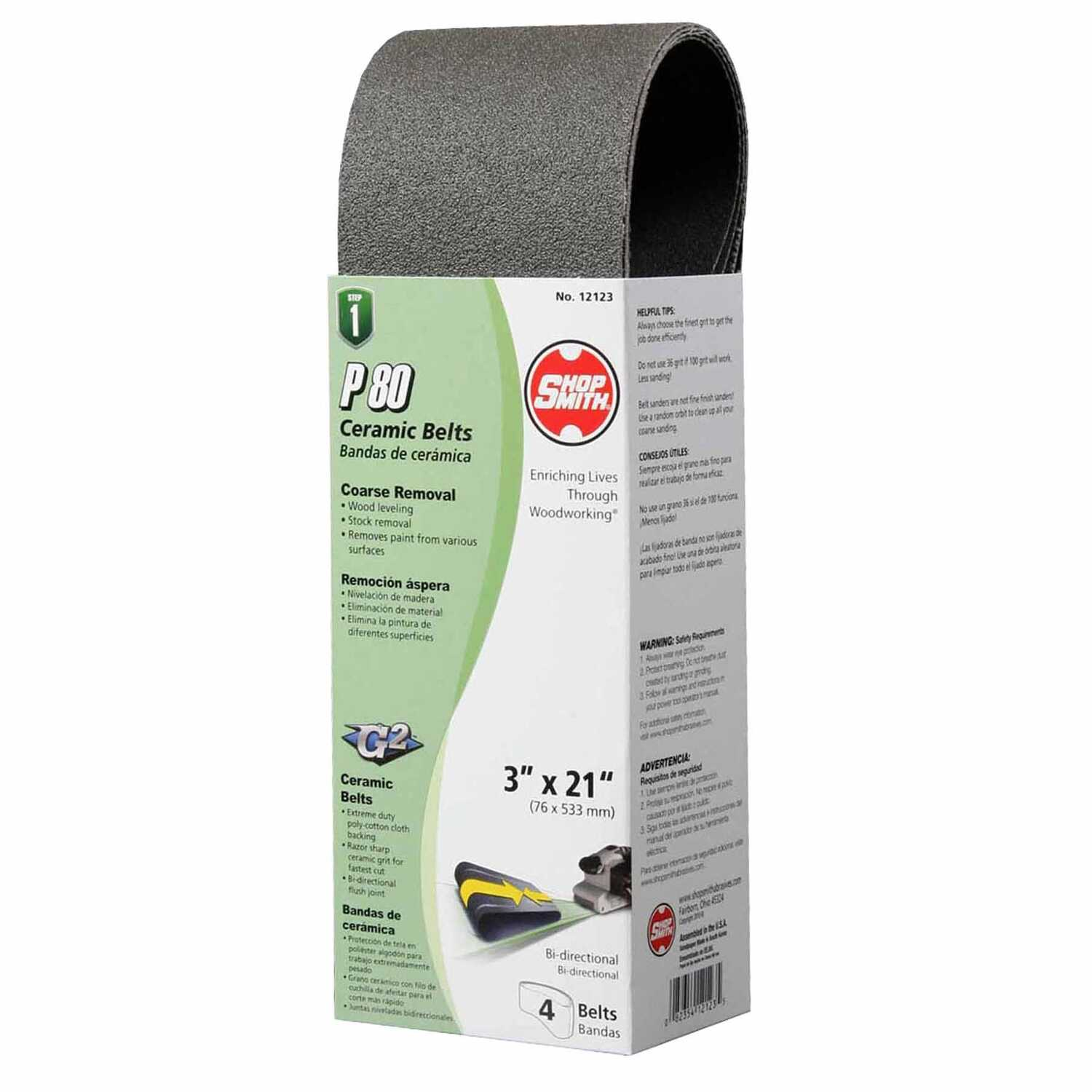 Shopsmith  21 in. L x 3 in. W Ceramic  Sanding Belt  80 Grit Medium  4 pc.