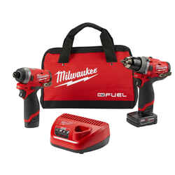 Milwaukee  M12 FUEL  Cordless  Brushless 2 tool Hammer Drill and Impact Driver Kit  12 volt 4 amps