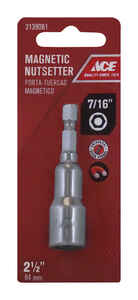 Ace  7/16 in. drive  x 2-1/2 in. L Chrome Vanadium Steel  Magnetic Nut Setter  1/4 in. 1 pc. Quick-C