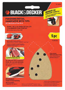 Black and Decker  Mouse  4-1/4 in. W x 6-11/16 in. L Extra Fine  Sandpaper  5 pk Aluminum Oxide  Ass