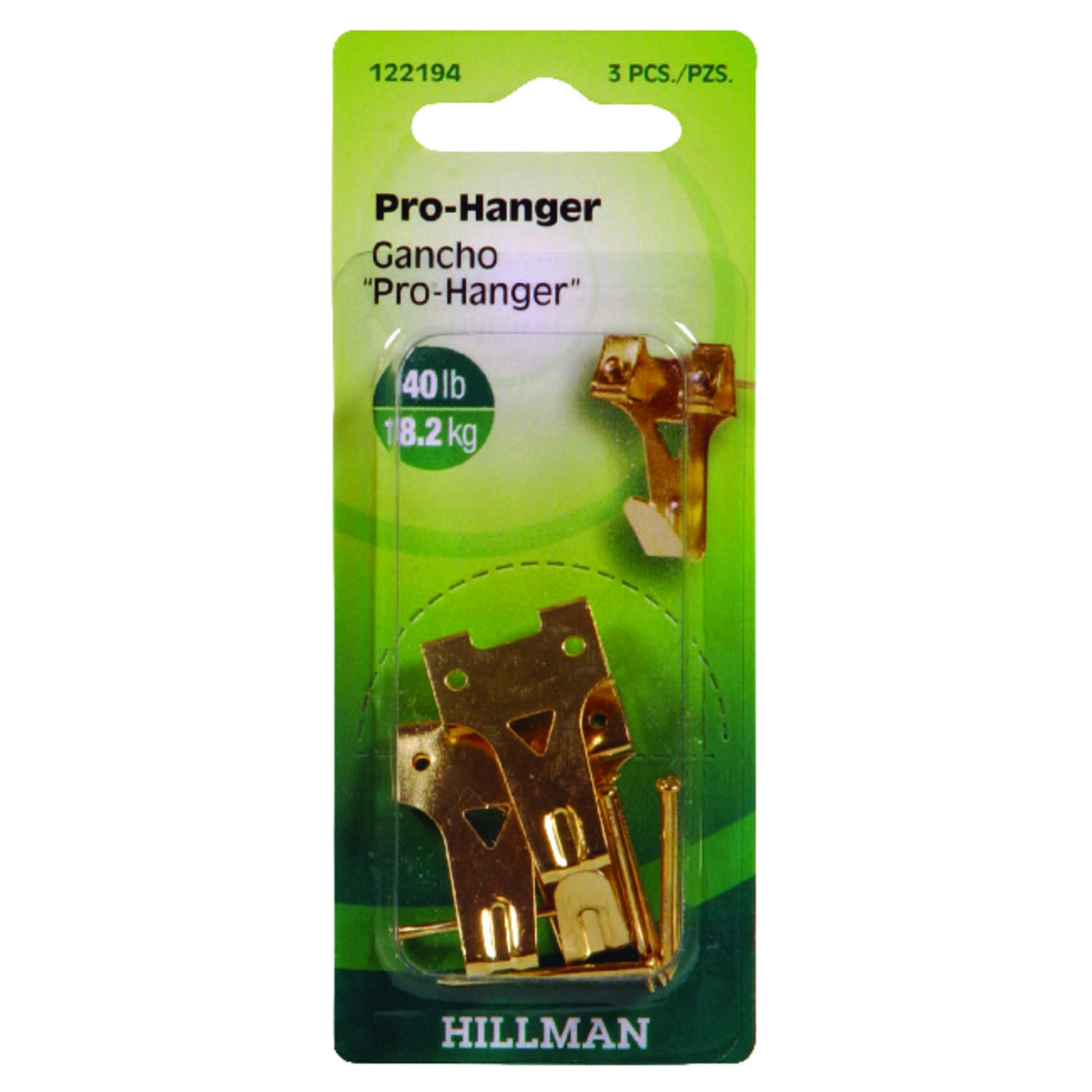 Hillman  AnchorWire  Brass-Plated  Gold  Professional  Brass  Picture Hanger  3 pk 40 lb.