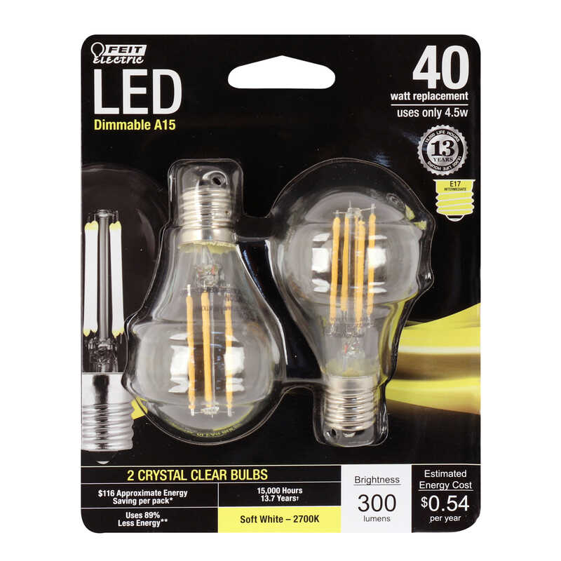 FEIT Electric  Performance  4.5 watts A15  LED Bulb  300 lumens Soft White  A-Line  40 Watt Equivale