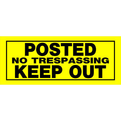Hillman  English  Yellow  No Trespassing  Sign  6 in. H x 15 in. W