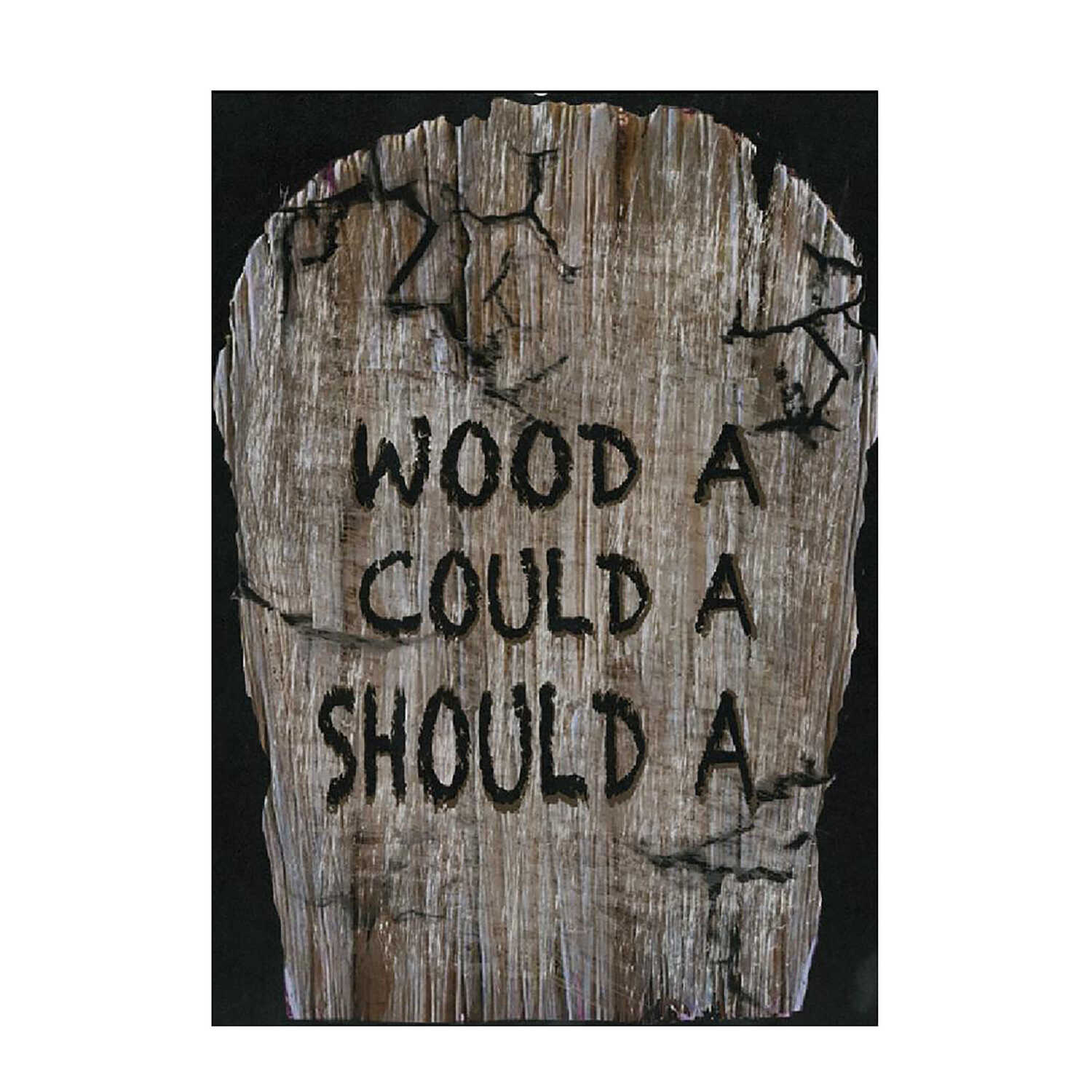 Fun World  Would A, Could A, Should A Tombstone  Halloween Decoration  22 in. H x 1 in. W x 14 in. L