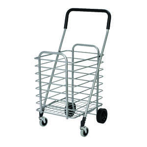 Polder  35-3/4 in. H x 18-1/2 in. W x 19-3/4 in. L Collapsible Shopping Cart  Silver