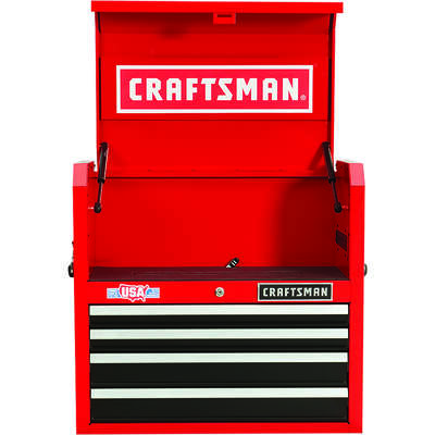 Craftsman  26 in. 4 drawer Metal  Open Till  Tool Chest  24.5 in. H x 16 in. D Red