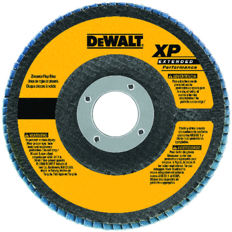 DeWalt  4-1/2 in. Dia. x 7/8 in.   Zirconia Aluminum Oxide  Flap Disc  60 Grit 1 pc. Medium