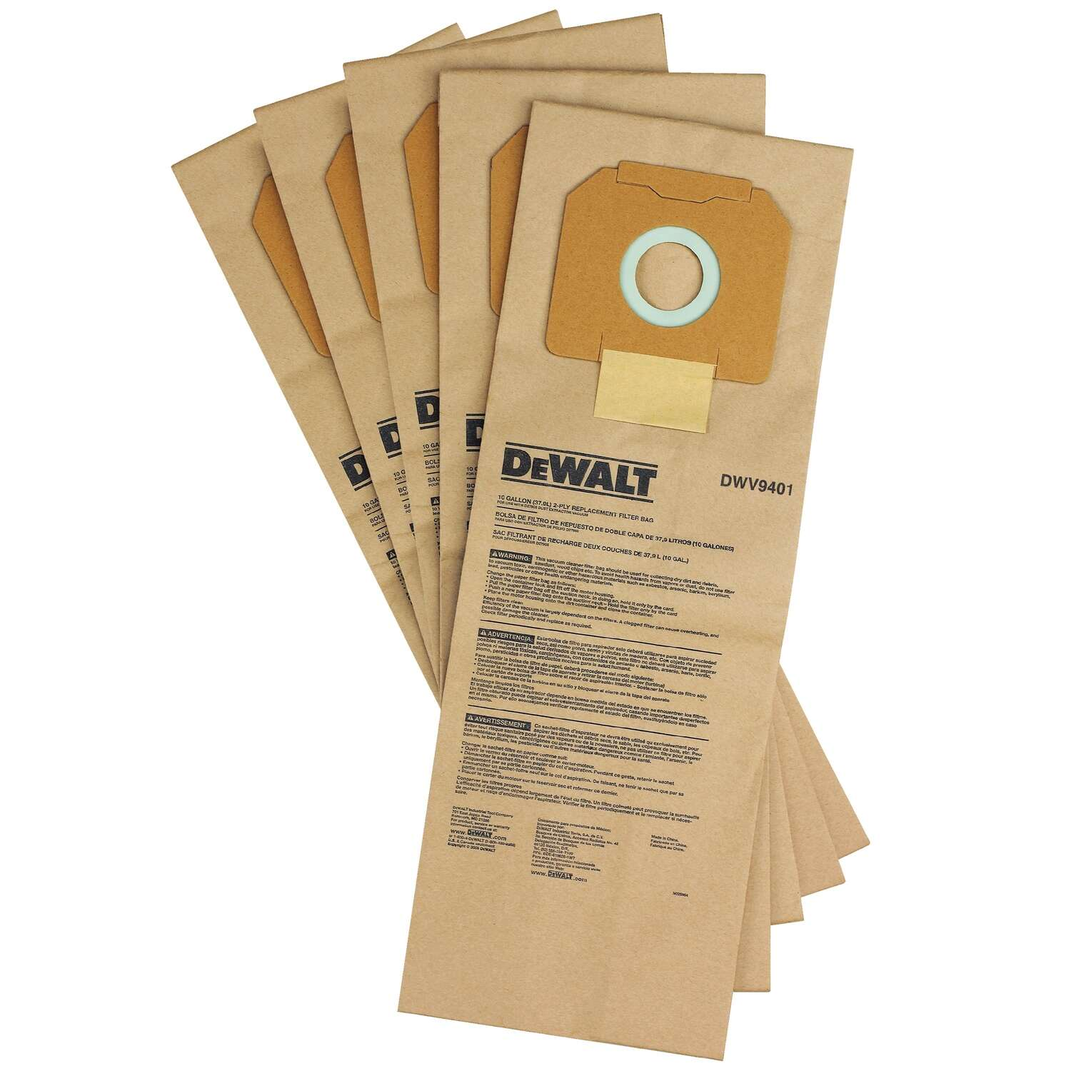 DeWalt 8.5 L x 3.5 in. W Vacuum Bag 5 pc.