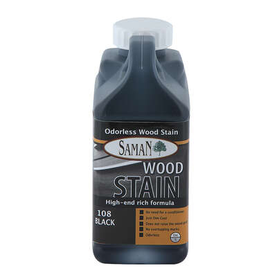 Saman  Semi-Solid  Black  Water-Based  Wood Stain  32 oz.