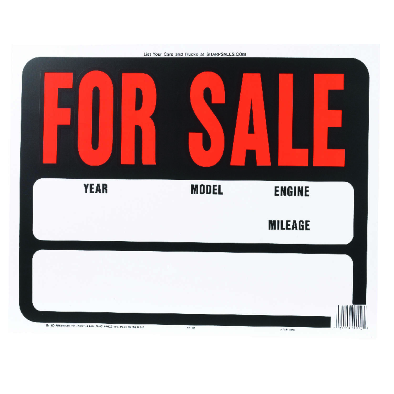 Hy-Ko  English  Auto for Sale  Sign  Plastic  15 in. H x 19 in. W
