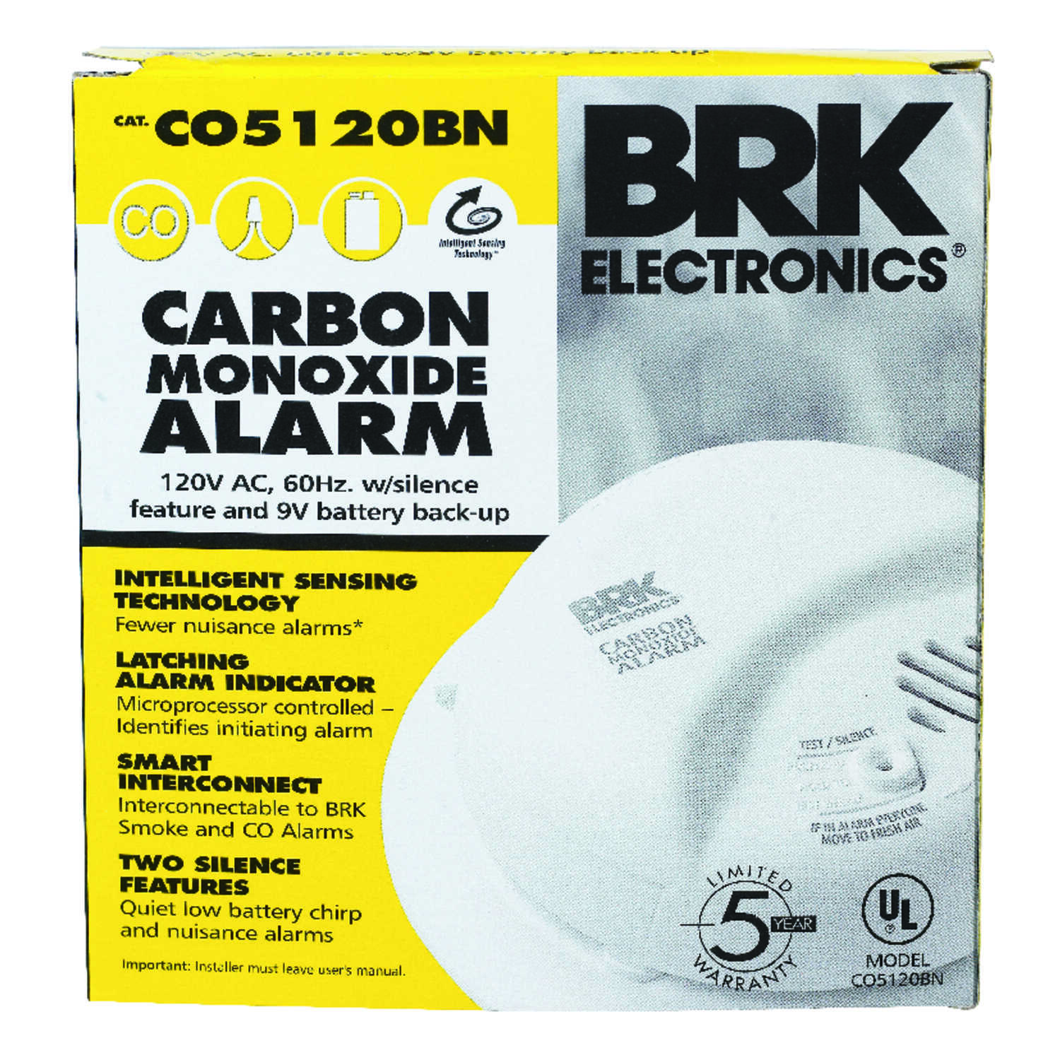 BRK  Hard-Wired w/Battery Back-up  Electrochemical  Carbon Monoxide Detector