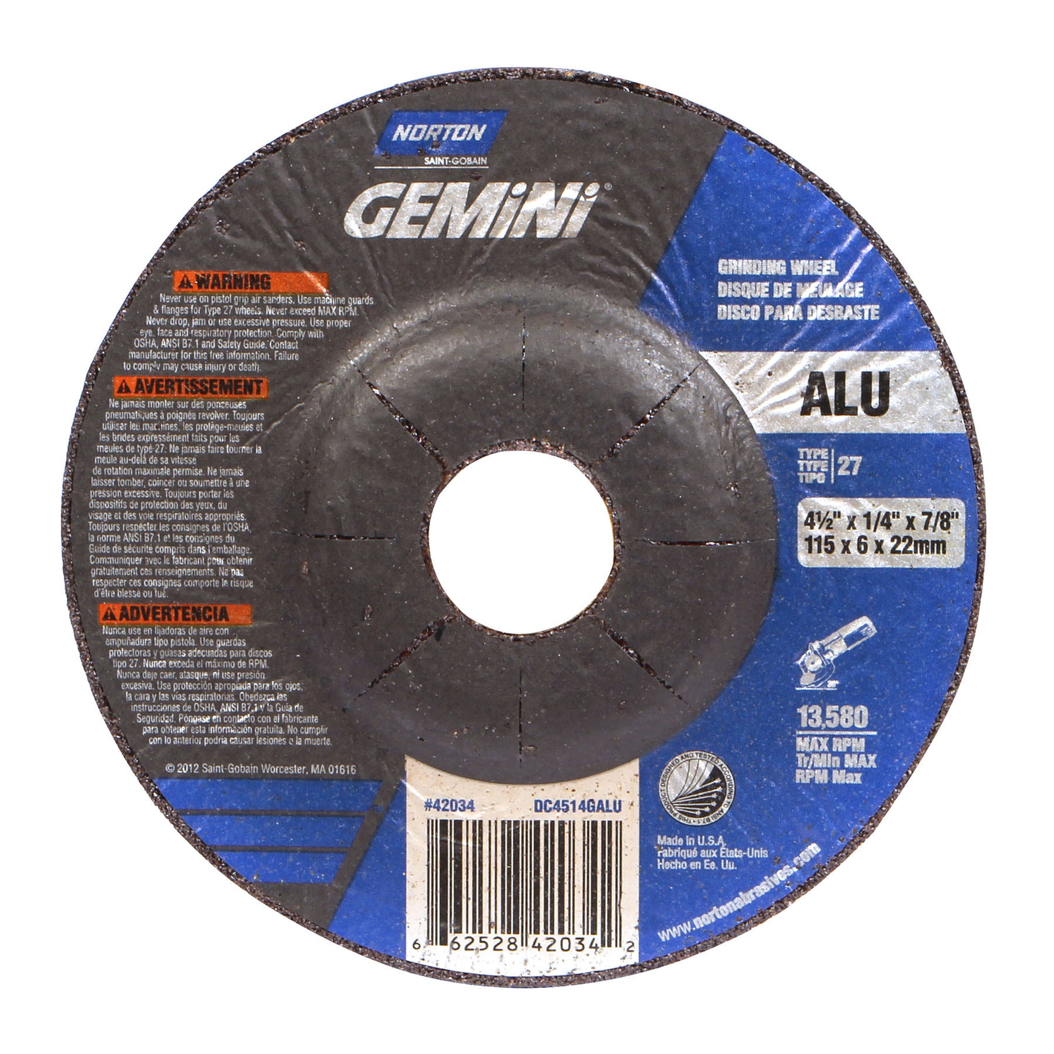 Norton  1/4 in. thick  x 7/8 in.   x 4-1/2 in. Dia. Aluminum Oxide  Grinding Wheel  13580 rpm 1 pc.