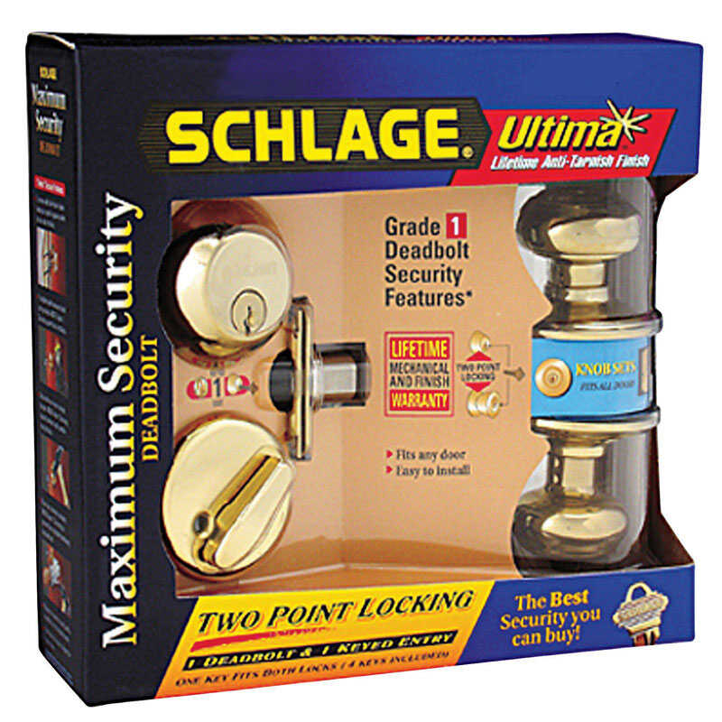 Schlage  Georgian  Bright Brass  Steel  Knob and Single Cylinder Deadbolt  ANSI Grade 2  1-3/4 in.