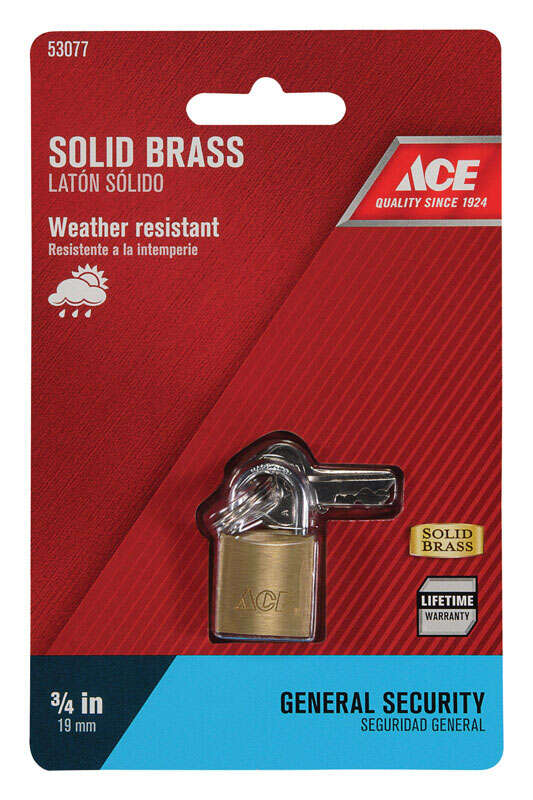 Ace  3/4 in. H x 3/4 in. W Brass  Padlock  Single Locking  1 pk