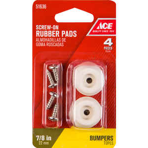 Ace  Rubber  Bumper Pads  Off-White  Round  7/8 in. W 4 pk