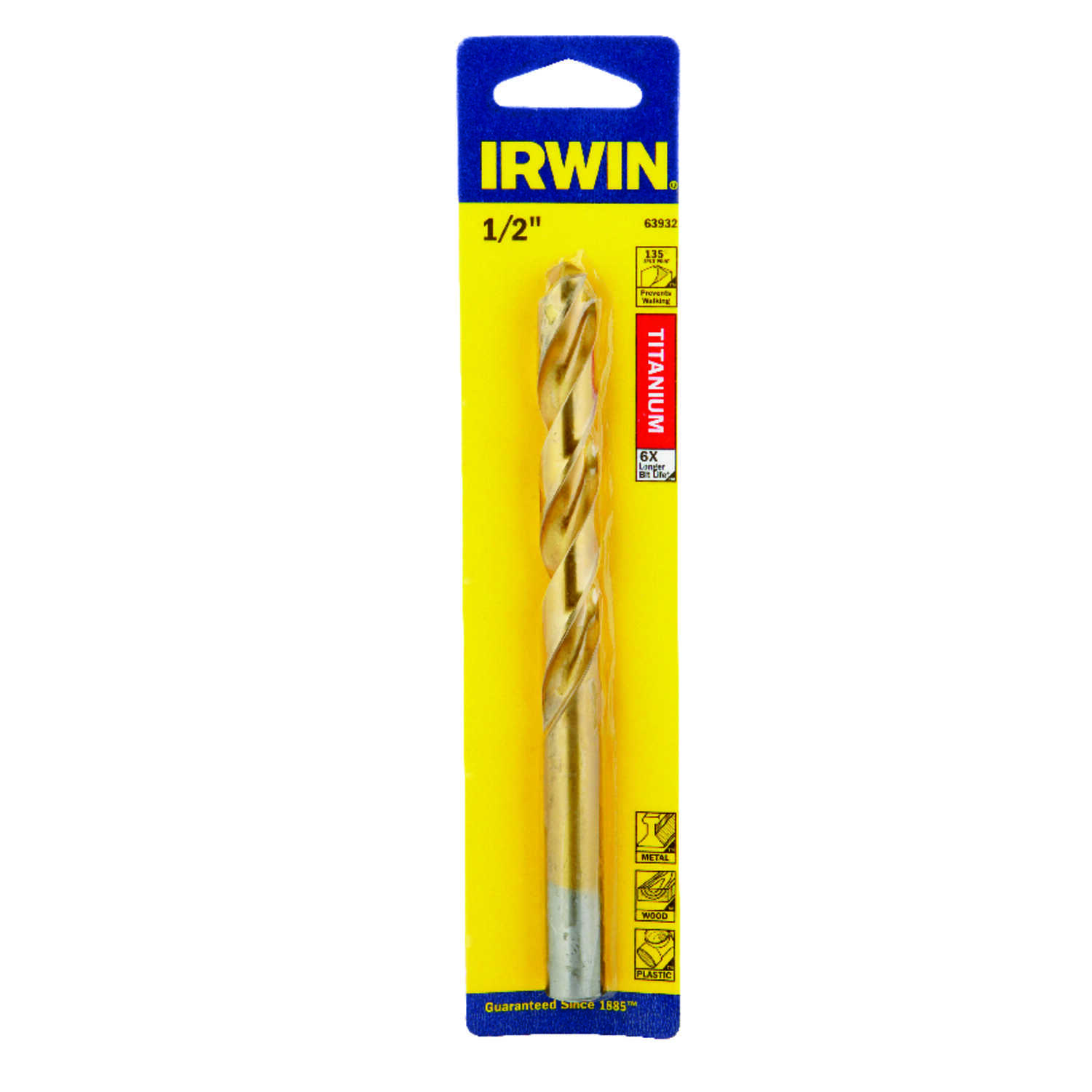 Irwin  1/2 in. Dia. x 6 in. L High Speed Steel  Drill Bit  1 pc.