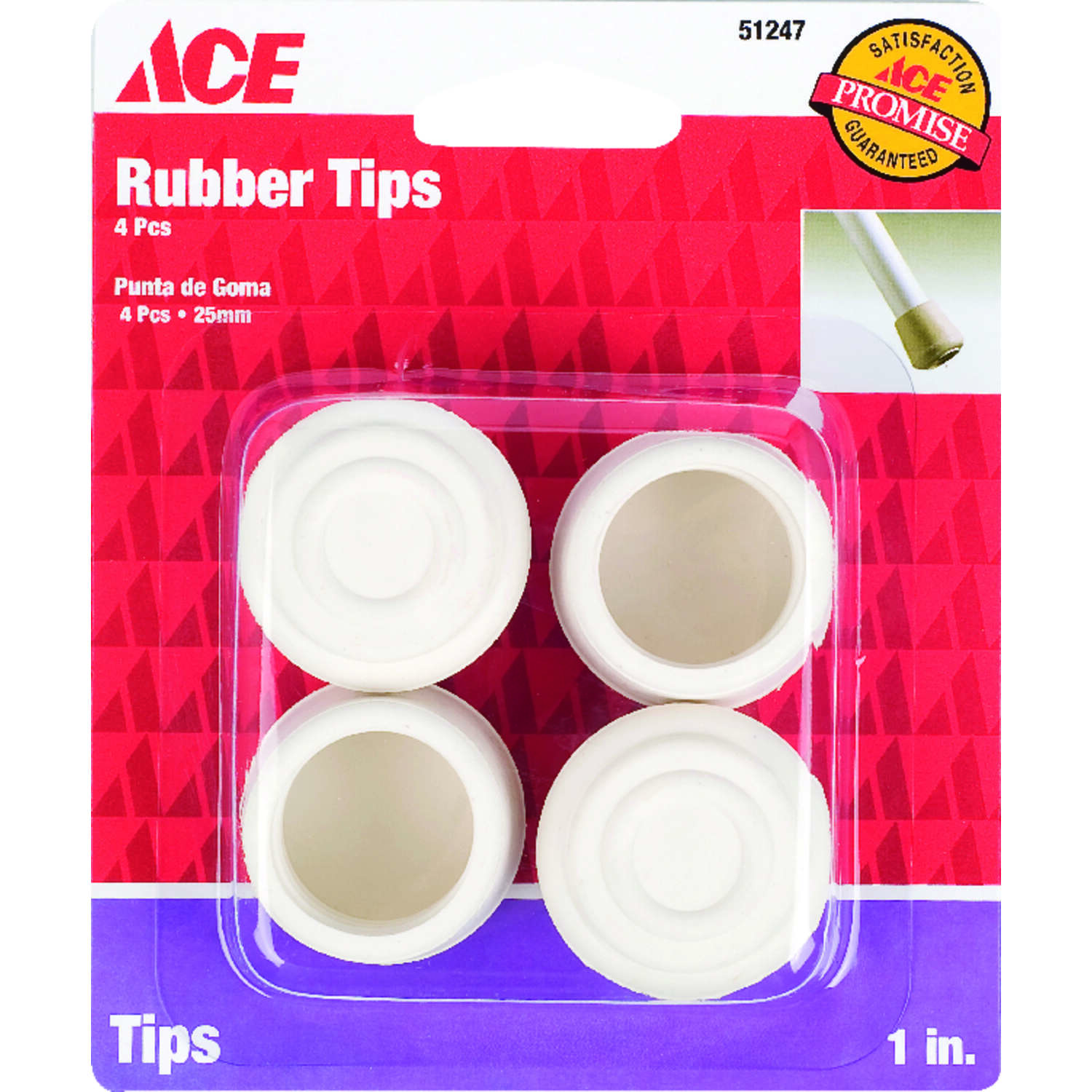 Ace  Rubber  Leg Tip  Off-White  1 in. W 4 pk Round