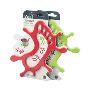 Zeal  4 in. W x 9-1/2 in. L Red or Green  Footprint Trivet
