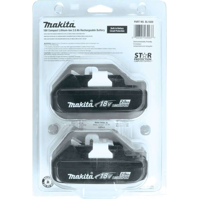 Makita  LXT  18 volts 2  Battery Pack  2 pc. Lithium-Ion
