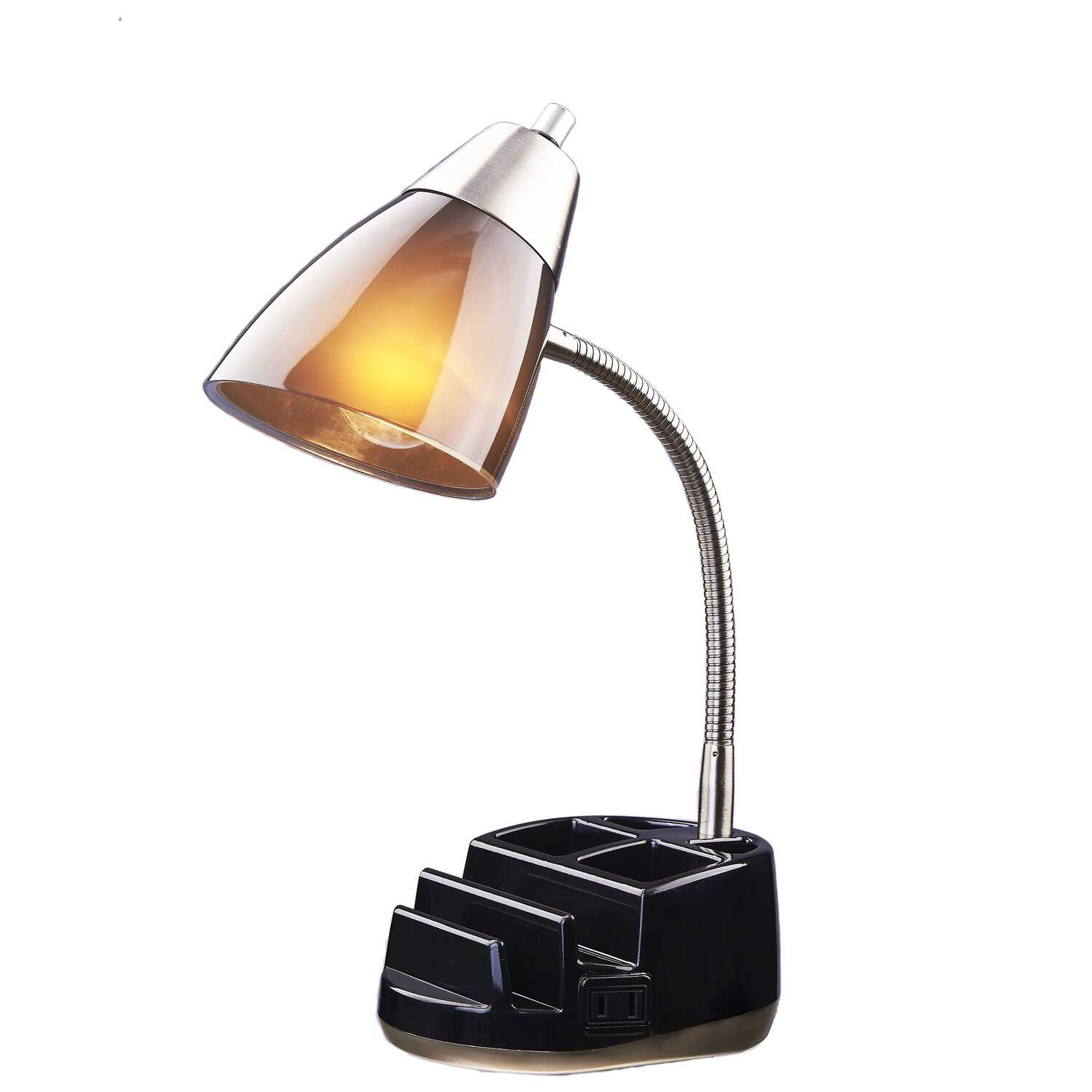 Living Accents  19-1/2 in. Black  Desk Lamp  Gloss