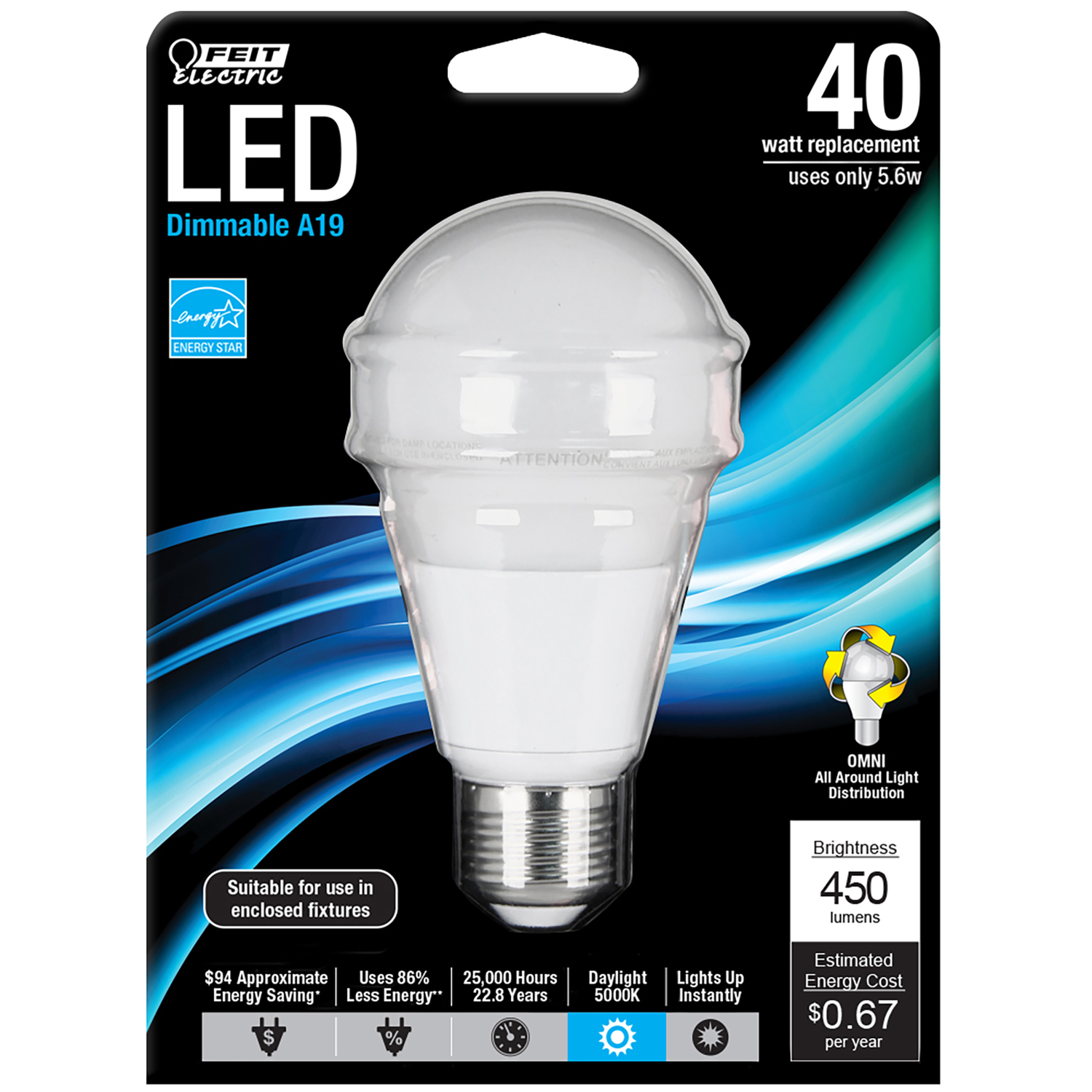 FEIT Electric  6 watts A19  LED Bulb  500 lumens Daylight  A-Line  40 Watt Equivalence