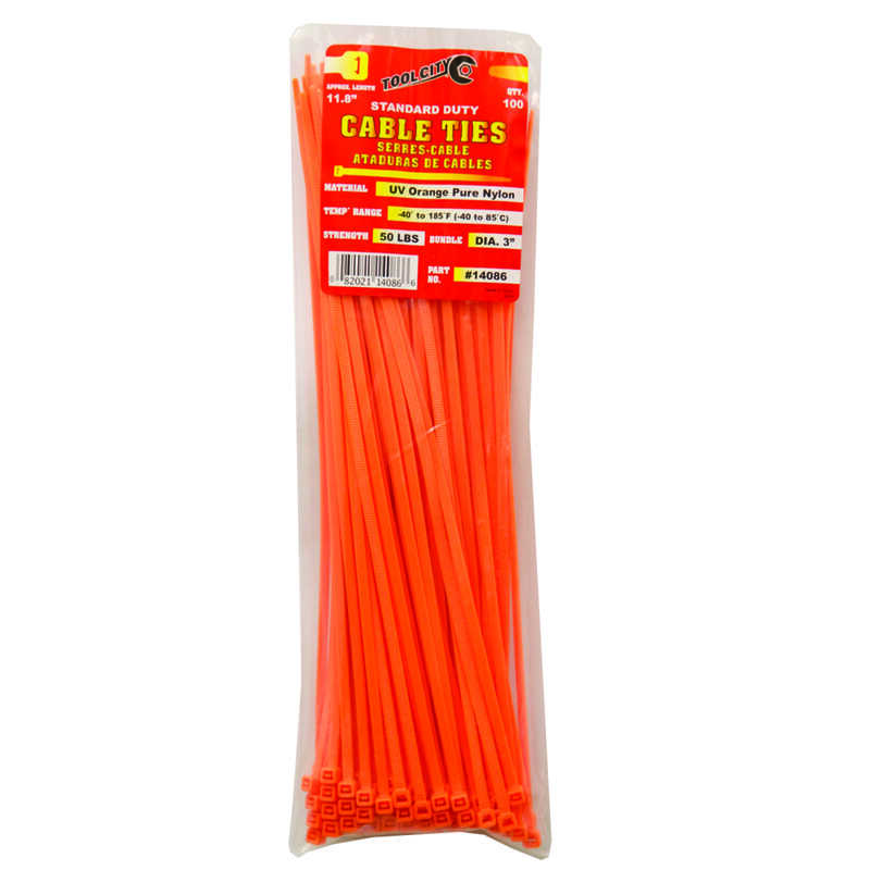Tool City  11.8 in. L Orange  Cable Tie  100 pk