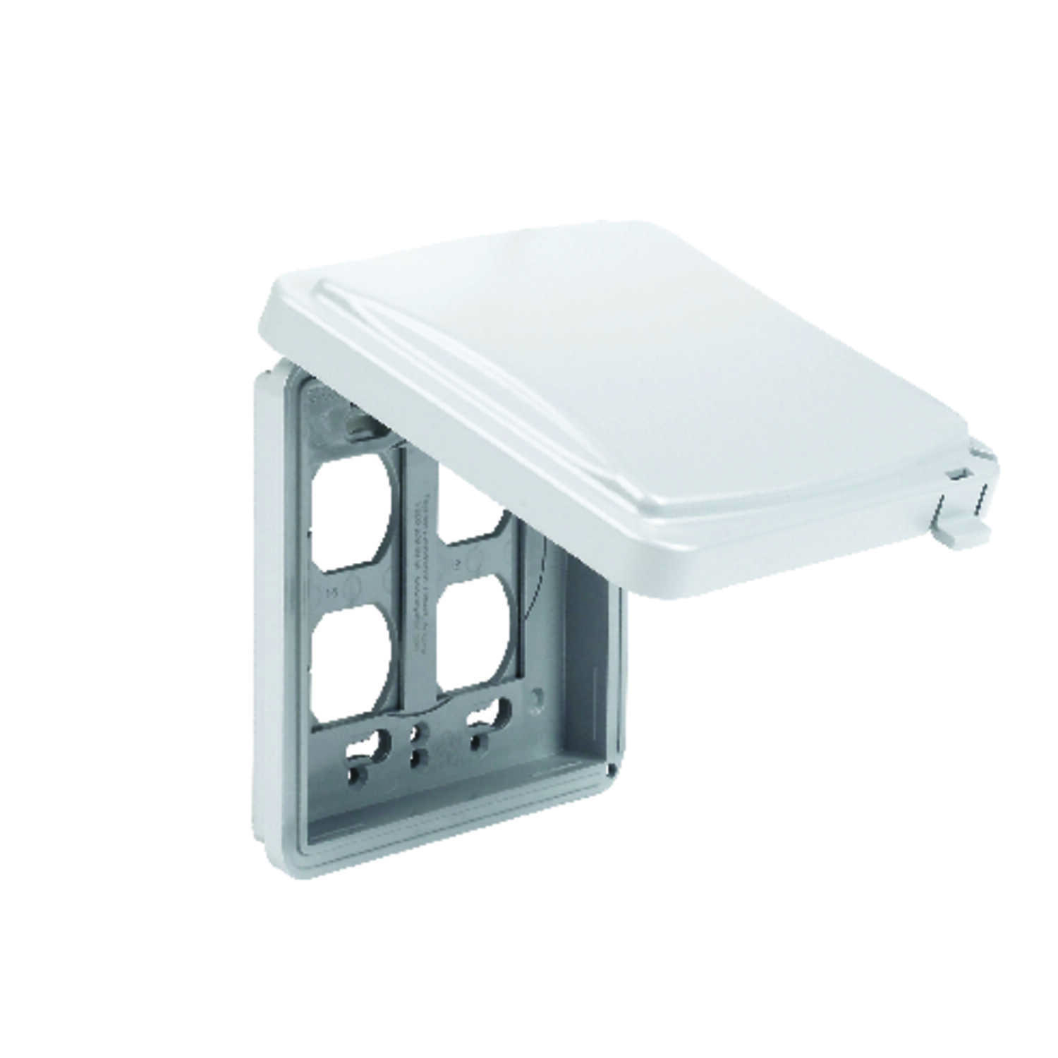 TayMac  Rectangle  Plastic  2 gang Receptacle Box Cover  For Protection from Weather