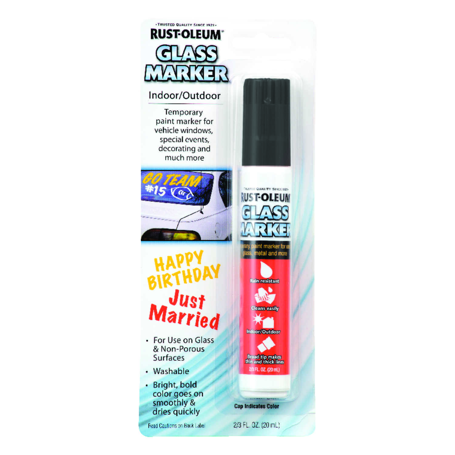 Rust-Oleum  Black  Broad Tip  Glass Marker  1 pk