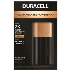 Duracell  2X  Rechargeable Power Bank  6700 mAh 1 pk